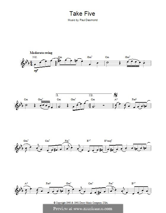Take Five (Dave Brubeck): For flute by Paul Desmond