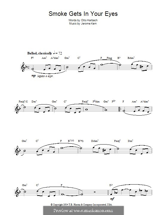 Smoke Gets in Your Eyes (from 'Roberta'): For flute by Jerome Kern