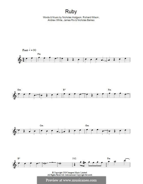 Ruby (Kaiser Chiefs): For saxophone by Andrew White, James Rix, Nicholas Baines, Nicholas Hodgson, Charles Wilson