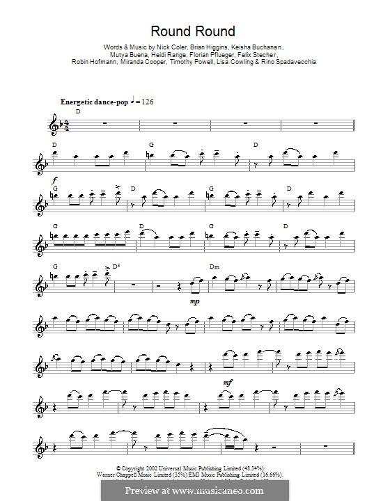 Round Round (Sugababes): For flute by Brian Higgins, Felix Stecher, Florian Pflueger, Heidi Range, Keisha Buchanan, Mutya Buena, Rino Spadavecchia, Robin Hofmann