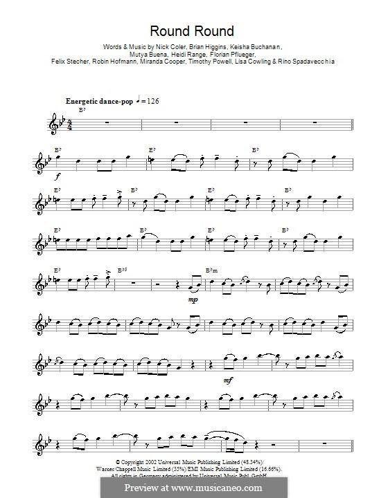 Round Round (Sugababes): For saxophone by Brian Higgins, Felix Stecher, Florian Pflueger, Heidi Range, Keisha Buchanan, Mutya Buena, Rino Spadavecchia, Robin Hofmann