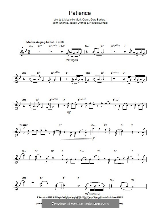 Patience (Take That): For flute by Gary Barlow, Howard Donald, Jason Orange, John M Shanks, Mark Owen