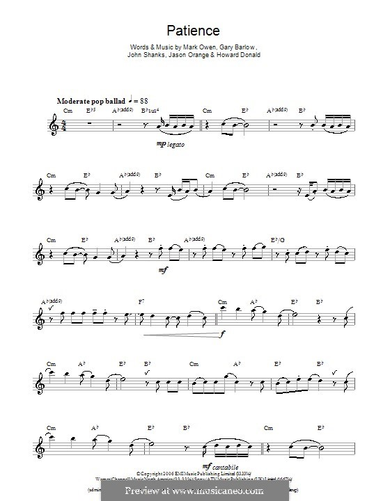 Patience (Take That): For saxophone by Gary Barlow, Howard Donald, Jason Orange, John M Shanks, Mark Owen