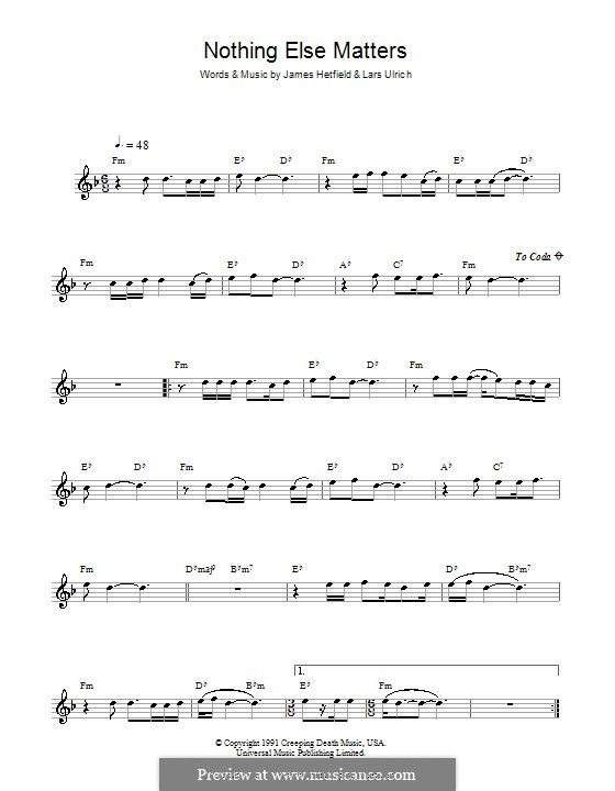 Nothing Else Matters (Metallica): For saxophone by James Hetfield, Lars Ulrich
