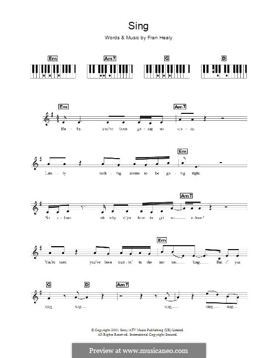 Sing (Travis): For keyboard by Fran Healy