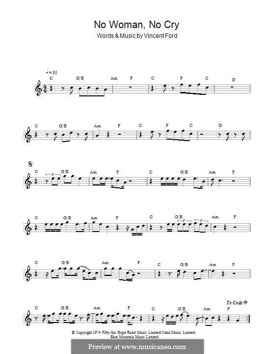No Woman No Cry (Bob Marley): For flute by Vincent Ford