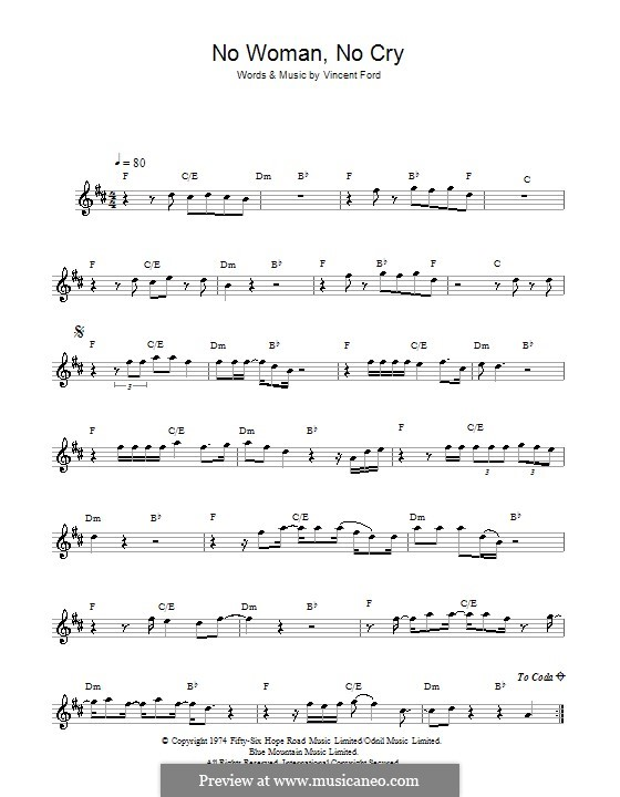 No Woman No Cry (Bob Marley): For saxophone by Vincent Ford