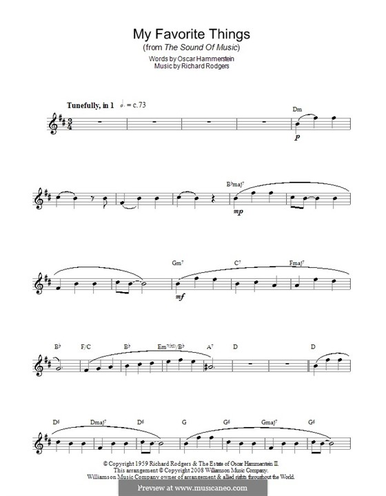 My Favorite Things (from The Sound of Music): For saxophone by Richard Rodgers