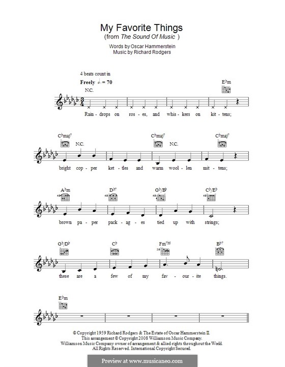 My Favorite Things (from The Sound of Music): Melody line, lyrics and chords by Richard Rodgers