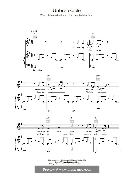 Unbreakable (Westlife): For voice and piano (or guitar) by John Reid, Jörgen Kjell Elofsson