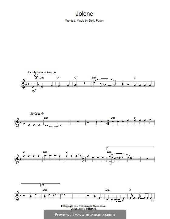 Jolene By D Parton Sheet Music On Musicaneo