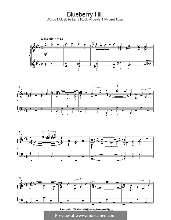 Blueberry Hill (Fats Domino): For piano by Al Lewis, Larry Stock, Vincent Rose