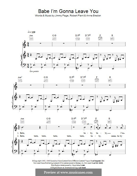 Babe, I'm Gonna Leave You (Led Zeppelin): For voice and piano (or guitar) by Anne Bredon, Jimmy Page, Robert Plant