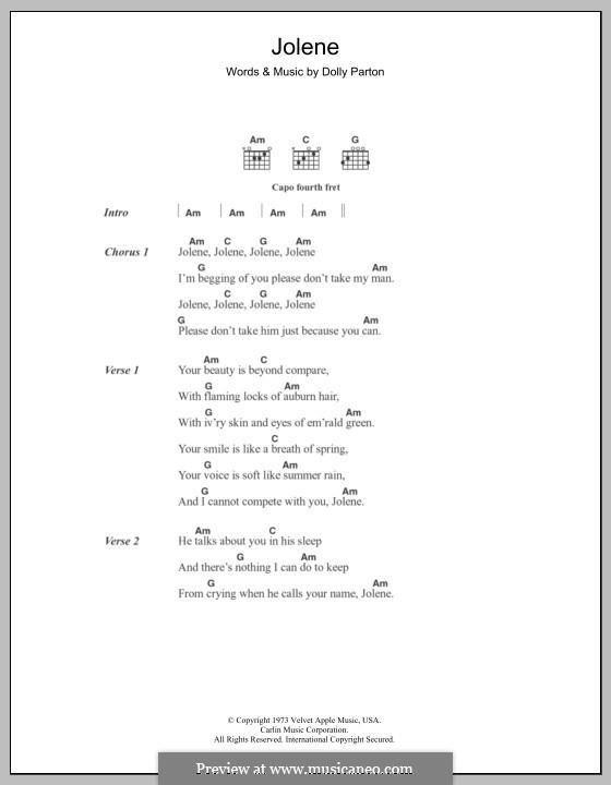 Jolene: Lyrics and chords by Dolly Parton