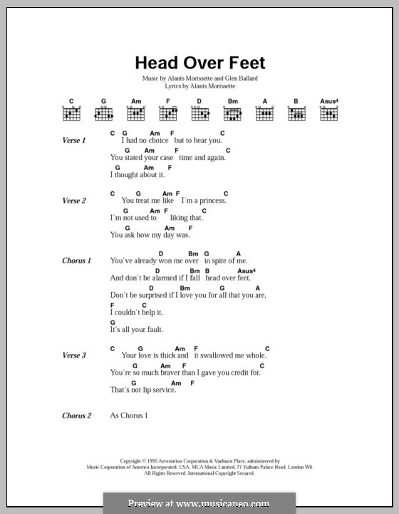 Head Over Feet: Lyrics and chords by Alanis Morissette, Glen Ballard