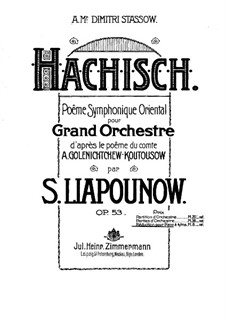 Symphonic Poem 'Hashish', Op.53: For piano four hands by Sergei Lyapunov