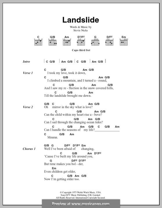 Landslide Fleetwood Mac By S Nicks Sheet Music On Musicaneo