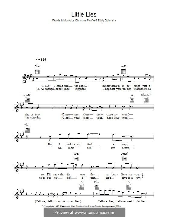 Little Lies (Fleetwood Mac): Melody line, lyrics and chords by Christine McVie, Eddy Quintela