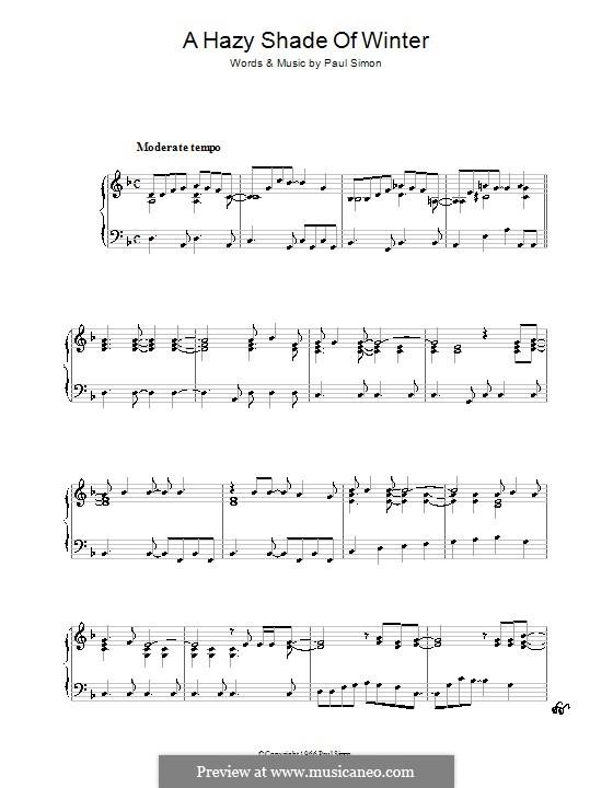 A Hazy Shade of Winter (Simon & Garfunkel): For piano by Paul Simon