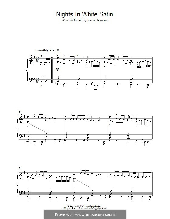 Nights in White Satin (The Moody Blues): For piano by Justin Hayward