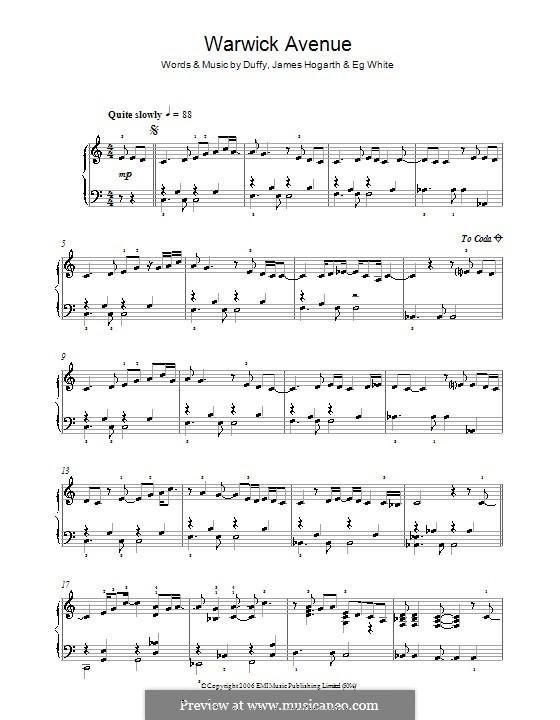 Warwick Avenue (Duffy): For piano by Jimmy Hogarth, Aimee Duffy, Eg White