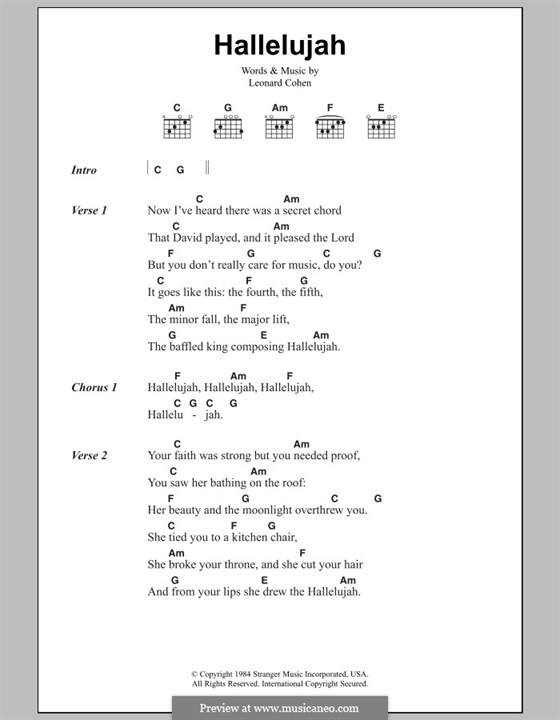 Hallelujah: Lyrics and chords by Leonard Cohen