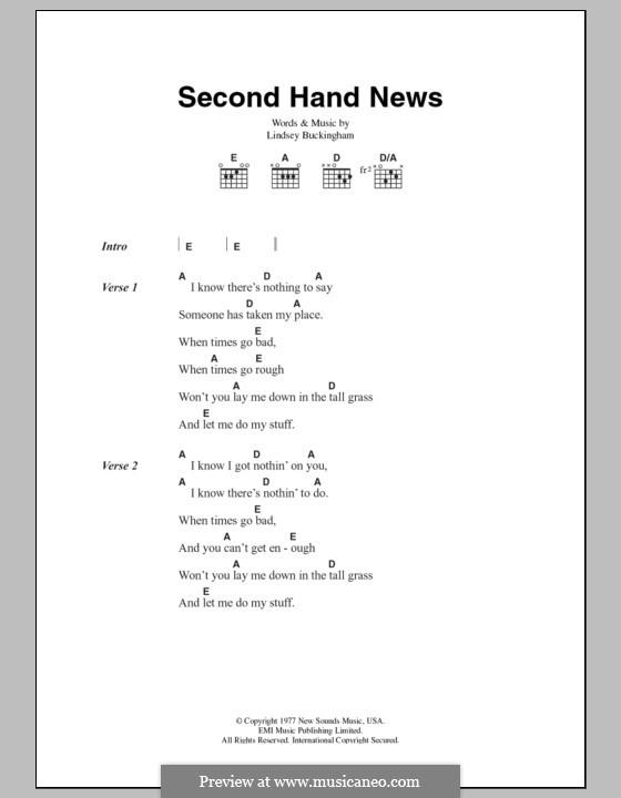 Second Hand News Fleetwood Mac By L Buckingham On Musicaneo