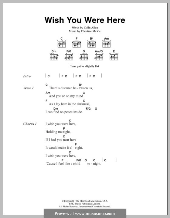 Wish You Were Here Chords Printable