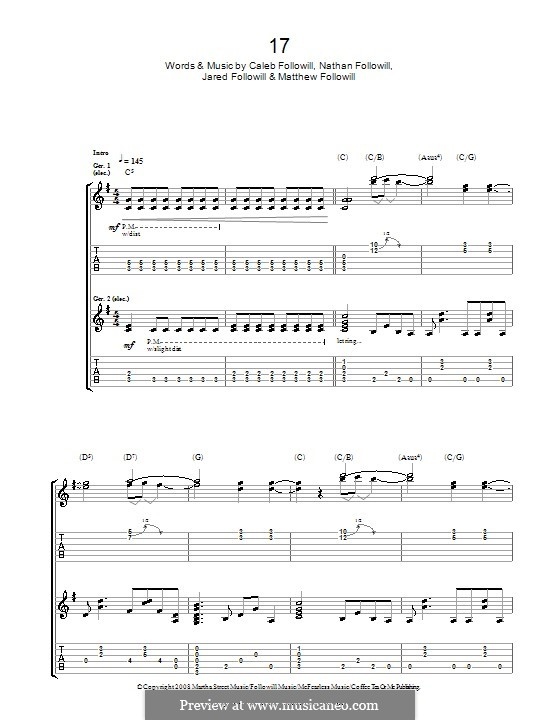 17 (Kings of Leon): For guitar with tab by Anthony Caleb Followill, Jared Followill, Matthew Followill, Nathan Followill