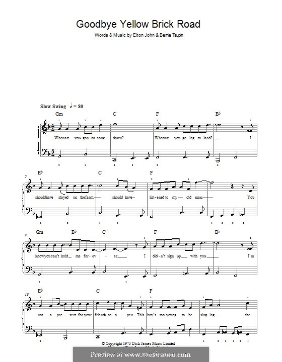 Goodbye Yellow Brick Road: For easy piano by Elton John
