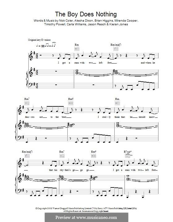 The Boy Does Nothing (Alesha Dixon): For voice and piano (or guitar) by Brian Higgins, Carla Williams, Jason Resch, Kieran Jones, Miranda Cooper, Nicholas Coler, Tim Powell