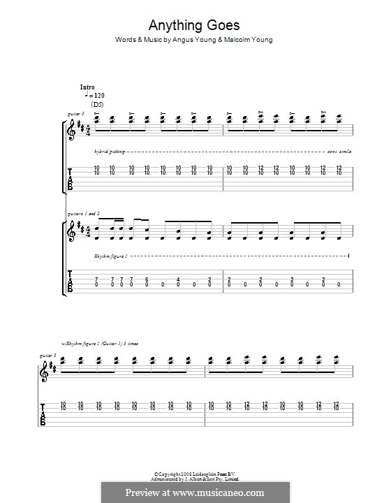Anything Goes (AC/DC): For guitar with tab by Angus Young, Malcolm Young
