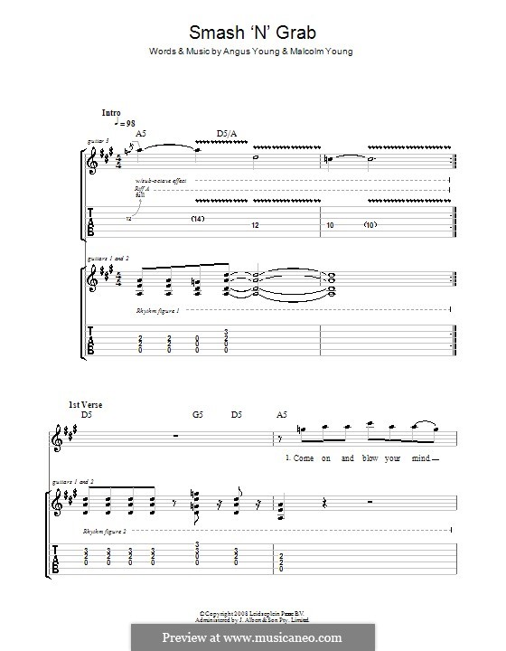 Smash 'n' Grab (AC/DC): For guitar with tab by Angus Young, Malcolm Young