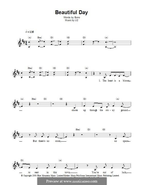 Beautiful Day By U2 Sheet Music On Musicaneo