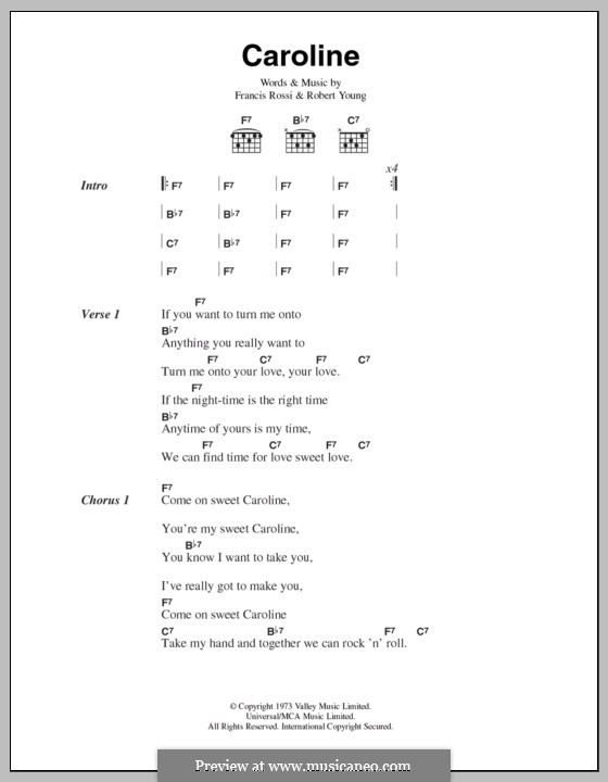 Caroline (Status Quo) by R. Young, F. Rossi - sheet music on MusicaNeo