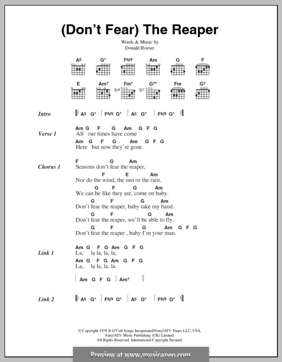 Don't Fear / The Reaper (Blue Oyster Cult): Lyrics and chords by Donald Roeser