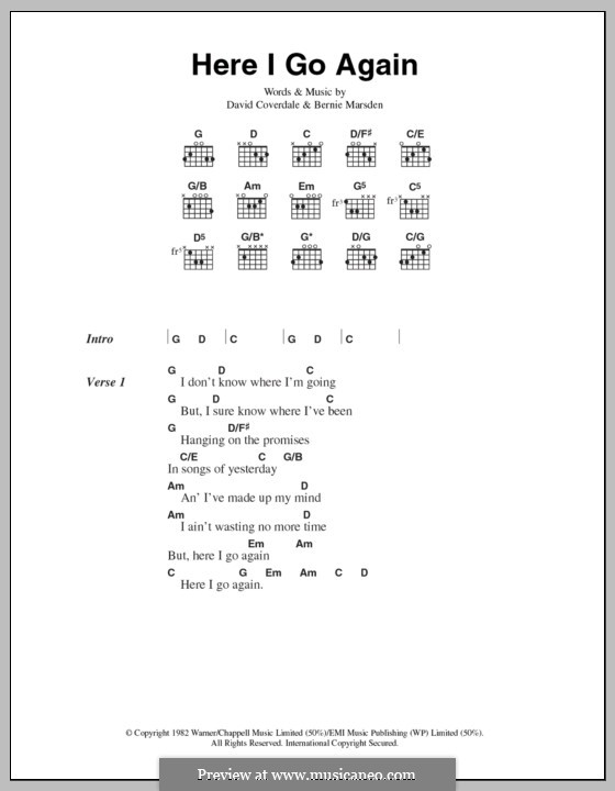 Here I Go Again (Whitesnake): Lyrics and chords by Bernie Marsden, David Coverdale
