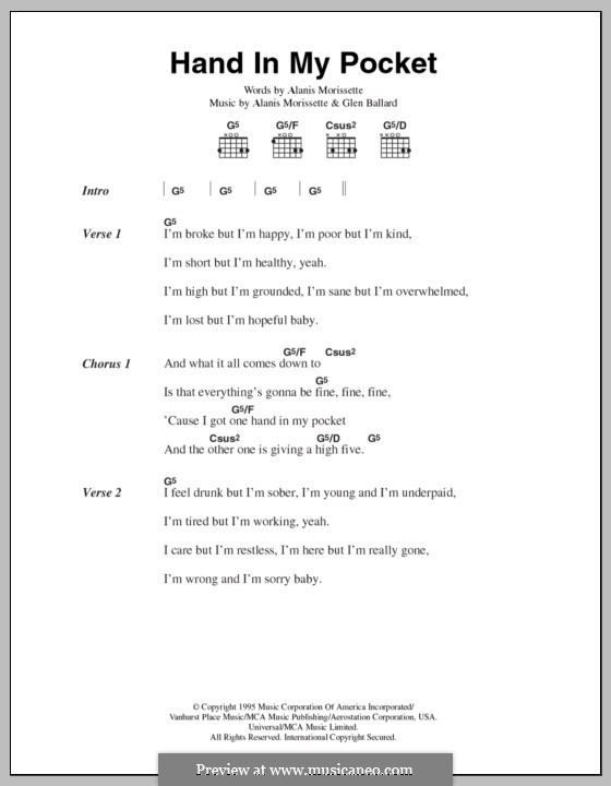 Hand in My Pocket: Lyrics and chords by Alanis Morissette, Glen Ballard