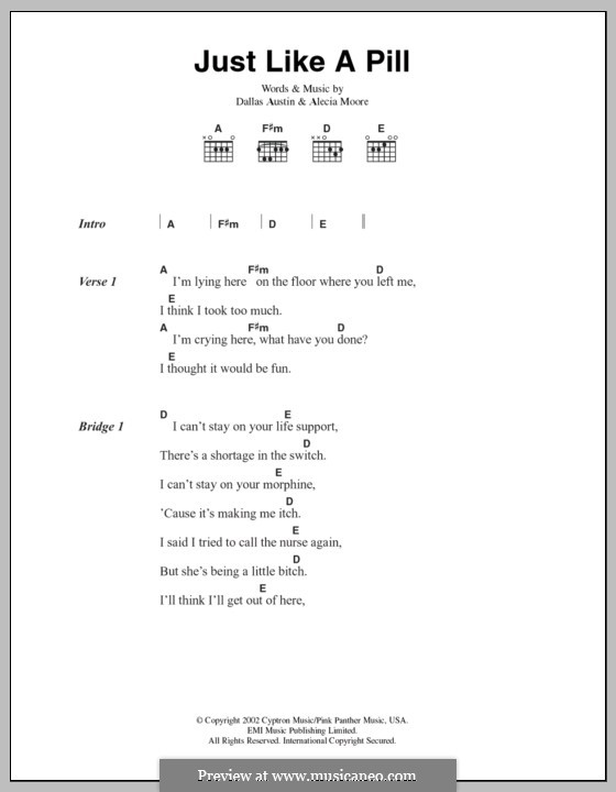Just Like a Pill (Pink): Lyrics and chords by Alecia Moore, Dallas Austin