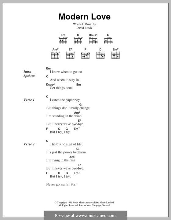 Modern Love: Lyrics and chords by David Bowie