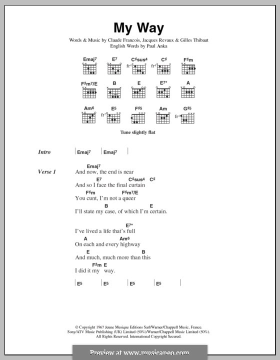 My Way: Lyrics and chords (The Sex Pistols) by Claude Francois, Jacques Revaux