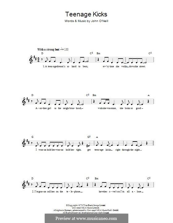 Teenage Kicks (The Undertones): Melody line, lyrics and chords by John O'Neil