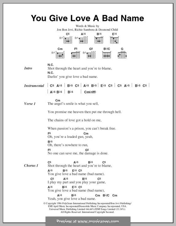 You Give Love a Bad Name (Bon Jovi): Lyrics and chords by Desmond Child, Jon Bon Jovi, Richie Sambora