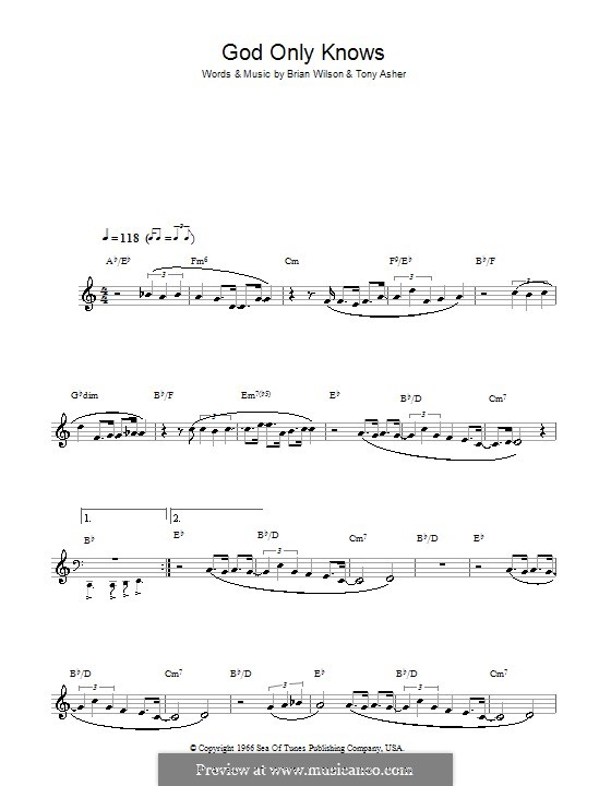 God Only Knows (The Beach Boys): For clarinet by Brian Wilson, Tony Asher