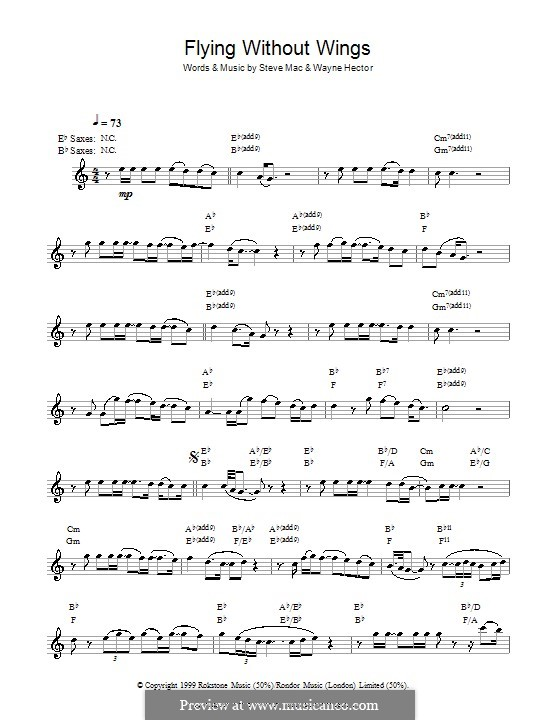 Flying without Wings (Westlife): For saxophone by Steve Mac, Wayne Anthony Hector