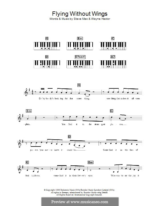 Flying without Wings (Westlife): For keyboard by Steve Mac, Wayne Anthony Hector