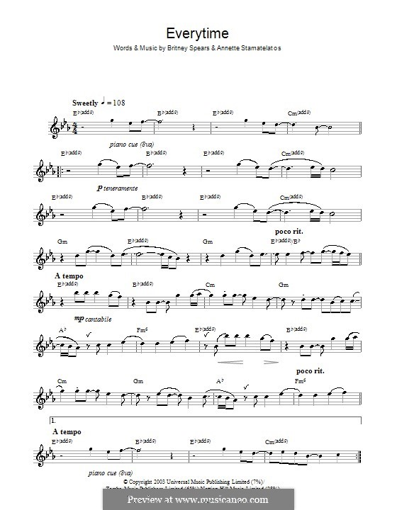 Everytime: For flute by Annette Stamatelatos, Britney Spears