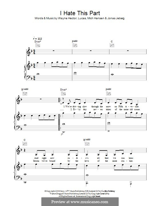 I Hate This Part (Pussycat Dolls): For voice and piano (or guitar) by Jonas Jeberg, Lucas Secon, Mich Hansen, Wayne Anthony Hector