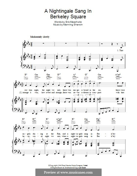 A Nightingale Sang in Berkeley Square: For voice and piano (or guitar) by Eric Maschwitz, Manning Sherwin