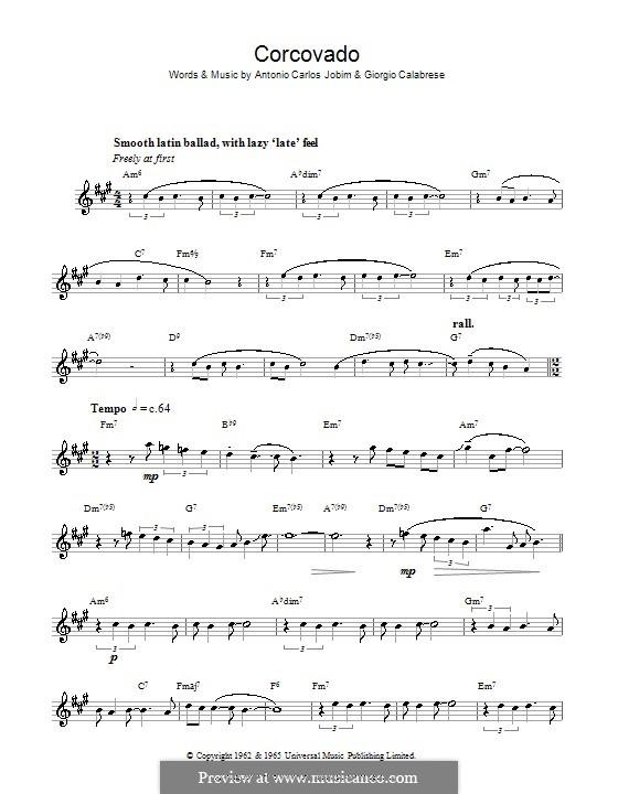 Corcovado (Quiet Nights of Quiet Stars): For saxophone by Antonio Carlos Jobim